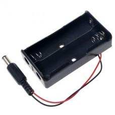 Бокс для 2-х батареек-аккумуляторов типа 18650 с 5.5х2.1 мм  с коннектором